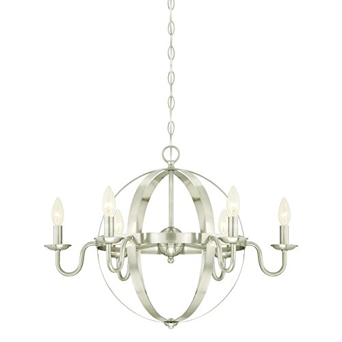 Westinghouse 6303100 Brixton Six-Light Indoor Chandelier, Brushed Nickel Finish Westinghouse Nickel Chandelier