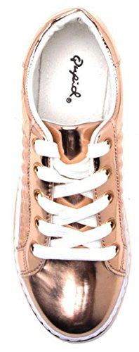 Qupid Mujeres Matthew-03 Zapatillas De Moda Rose Gold Shiny Met