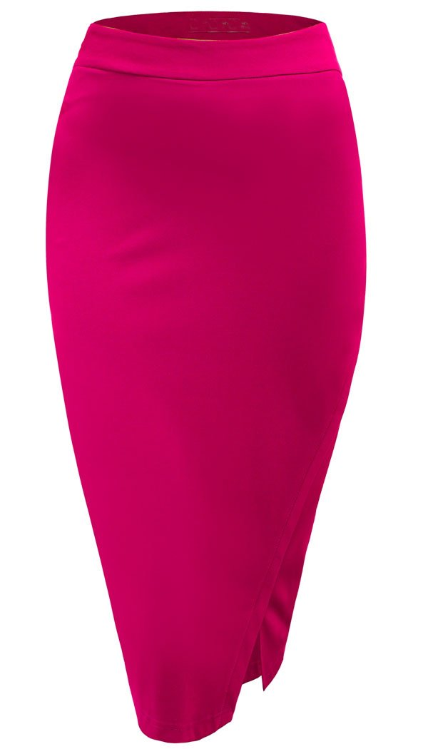 Halife Women's Knee Length Split Wrap Style Pencil Skirt (L, Pink) by Halife