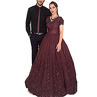 Jasminebridal Women's Cap Sleeves Wedding Dress Bling Lace Dresses For Bridal 2018 Eleght Tulle Quinceanera Dresses Coffe,8