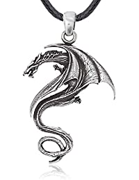 Gothic Dragon Pendant Necklace, Fine Pewter Jewelry