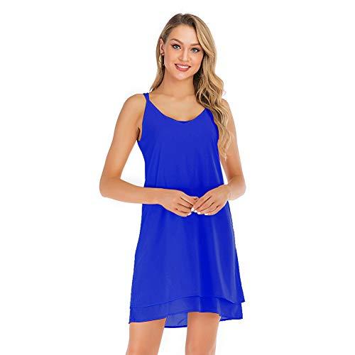(SHENGYI Women's Long Cami Tops Spaghetti Chiffon Strap Double Layers Cami Summer Beach Swing Dress Blue Large)