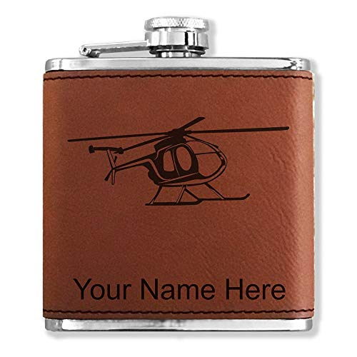 (Faux Leather Flask, Helicopter 1, Personalized Engraving Included (Dark Brown))