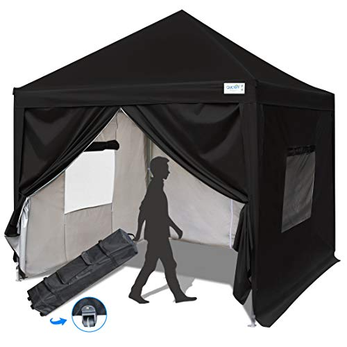 Quictent Privacy 10x10 EZ Pop Up Canopy Party Tent Folding Gazebo with Sidewalls and Mesh Windows 100% Waterproof (Black)