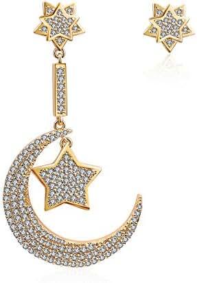 AMYJANE 14K Gold Moon Stud Earrings Star Stud Earrings Eastern Star Jewelry Set for Girls