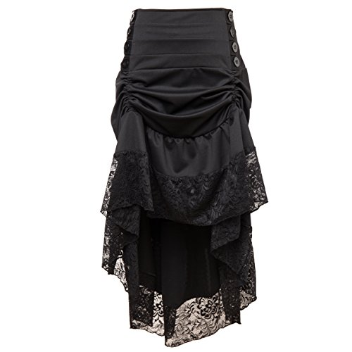 Alex sweet Adjustable Ruffle High Low Gothic Skirt Plus Size Steampunk Corset Skirt Long Dress (L, 02-Black) -