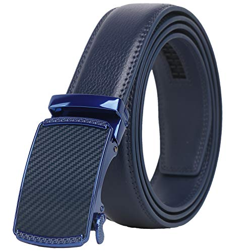 Lavemi Men's Real Leather Ratchet Dress Belt with Automatic Buckle,Elegant Gift Box(55-0191 Blue Leather)