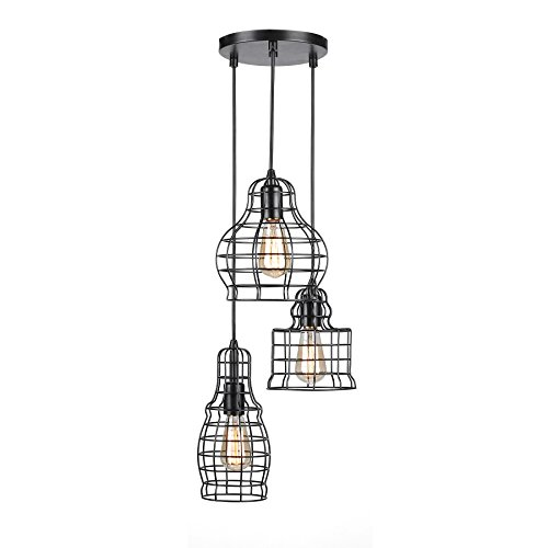 Antique Light Three Chandelier Bronze (CO-Z 3-Light Wire Cage Cluster Pendant Chandelier in Antique Bronze Finish, 3 Metal Squirrel Cages Hanging Pendant Ceiling Lighting Fixture for Kitchen Island/Dining/Bar Counter with Filament Bulbs)