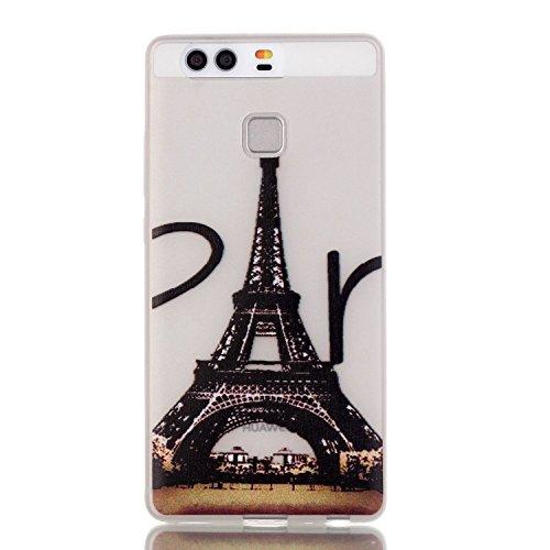 [Extremadamente Delgada] Funda 3D Silicona Transparent para Huawei P9 , Funda TPU Ultra Slim para Huawei P9 , TOCASO Case Fina Slim Fit Cristal Clear, Noctilucent Cover Glittering Bling Cute Pattern C Torre Eiffel