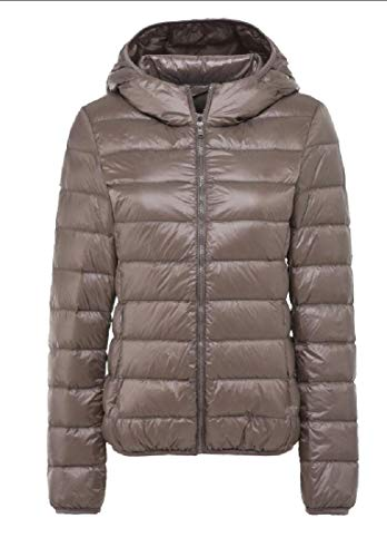 Coat Down Hooded Jacket Lightweight Outdoor EKU Women's Packable Khaki Insulated wq7HTUB