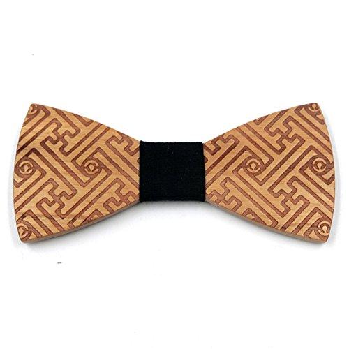 Haodasi Réglable Hommes Cravate Mode Arc Attacher Mariage Nœud papillon Fête Cadeau Bois SK-6 #05