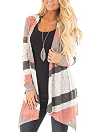 Women Casual Color Block Open Front Long Sleeve Knit Cardigan