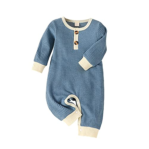 blue onesies 0-3 months boy newborn babies outfits with snaps one piece rompers winter fall clothes long sleeve