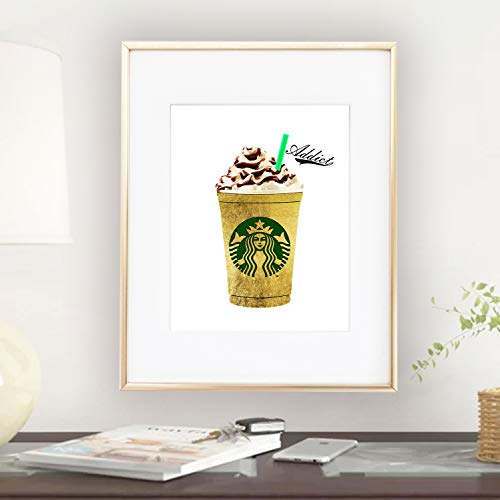 Starbucks Gold Foil Coffee Print Wall Art Home Office Home Decor Bedroom Kids Baby Decor Wall Decor Print Happy Vogue 0273 ()