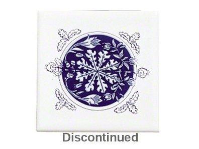 Kohler K-4200-RC-0 Provincial Decorative Field Tile, Cobalt Blue Medallion In White (Kohler Decorative Field Tile)