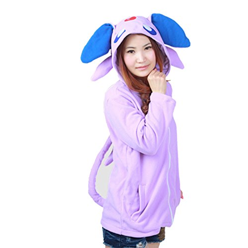 Datangep Espeon Long Sleeves Hooded Sweater Coat with Tail XL