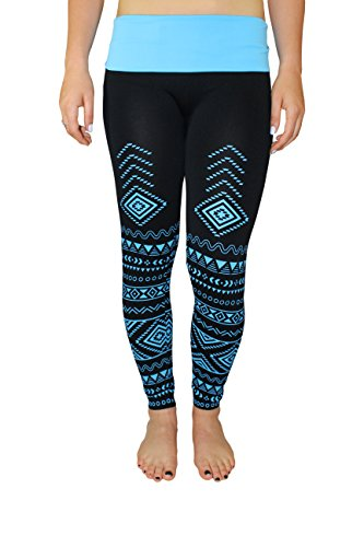 Crush Women's Aztec Printed Leggings Seamless Skinny Neon S / M - Turquoise