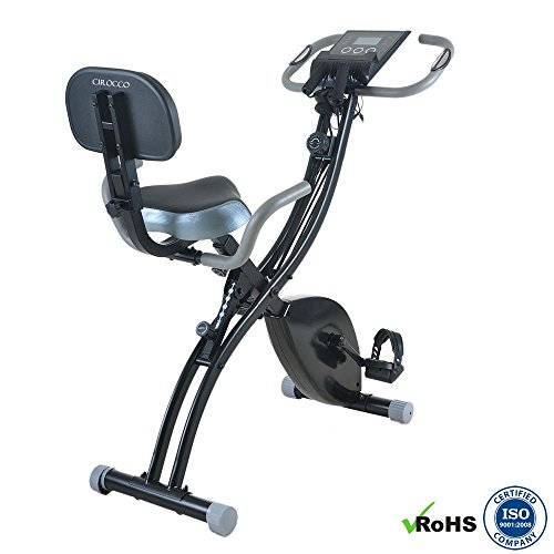 Cirocco Stationary 8 Level Magnetic Resistance Upright Exercise Bike   Foldable Adjustable Fitness Machine LCD Display Track Pulse Heart Rate Calorie Distance Speed Time 270 lbs. For Workout Home Gym Cirocco