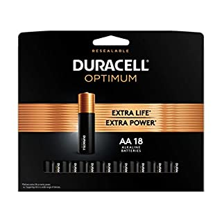 Duracell Optimum AA Batteries   18 Count Pack   Lasting Power Double A Battery   Alkaline AA Battery Ideal for Household and Office Devices   Resealable Package for Storage