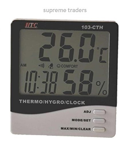 Price comparison product image HTC Instrument 103-CTH Digital Indoor Hygrometer Thermometer with Clock by Supreme Traders Supertronics1989