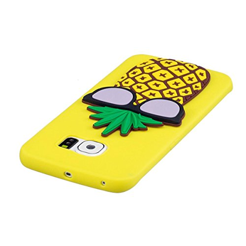 Funda Samsung Galaxy S6 Edge Silicona, Carcasas Samsung Galaxy S6 Edge Case Cover Dibujos Animados Flexible TPU Opaco Ultra Delgado Ultra Ligero Goma Caja Suave Gel Shock-Absorción,Anti-Arañazos y Ant Piña