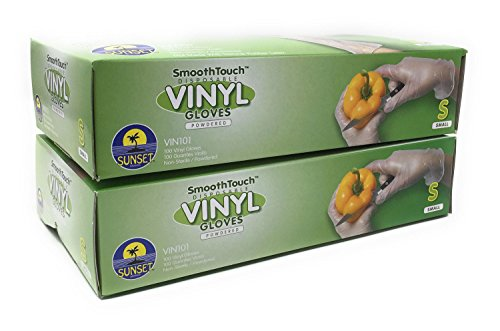 200 Powdered Disposable Vinyl Gloves, Non-Sterile, Slip On/Off, Smooth Touch, Food Service Grade, Small Size [2x100 Pack]