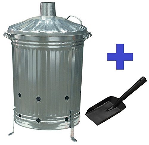 CrazyGadget Garden Fire Bin Incinerator Galvanised 90 lt + FREE ASH SHOVEL (Burning Wood Leaves Paper etc.)