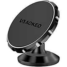 Car Phone Mount, Aokeo Universal 360° Rotational Magnetic Phone Holder: Universal Cradle Stand Holder for iPhone 8/X/7/7 Plus/6s/6 Plus/5s, Samsung Galaxy S5/S6/S7/S8, Huawei (Black Metal)