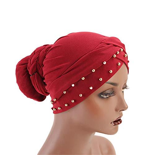 Qianmome India Caps Turban Bandana Braided Headwrap African Point Drill Milk Silk Head ()