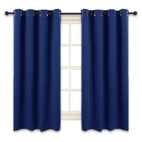 PONY DANCE Bedroom Navy Curtains - Blackout Drapes Decorative Home Fashion Solid Light Blocking Window Treatments Thermal Panels Kids' Room, 52'' W x 63'' L, Navy Blue, One Pair by PONY DANCE