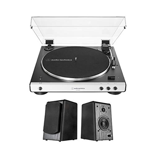 Audio-Technica AT-LP60XBT-WH Bluetooth Turntable (White) Bundle with Pro1BT Bluetooth Bookshelf Monitor Speaker Pair (2 Items)