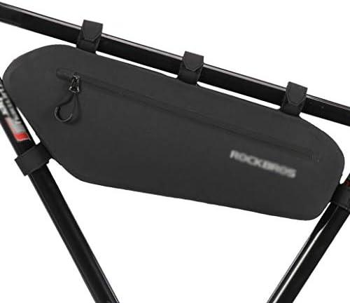 耐圧防水自転車バッグ、3L / 4L大容量トライアングルバッグ、安定しており、事務所アッパーチューブバッグ、フロントビームバッグ、マウンテンバイク乗馬用品 (色 : 黒, サイズ : L)