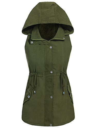 Hufcor Womens Anorak Faux Fur Lined Military Vest with Hoodie(Army Green,L) (Boot Fur Sleeve Faux)