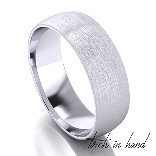 White Gold Wedding Band, 14k Solid White Gold 6mm Wide, Matte Wedding Band, Light Brushed Wedding Band