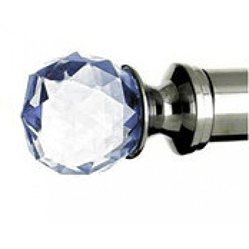 Sky Blue Crystal Finial for (½ ') Bright Chrome Stair Rods Black Country Metal Works