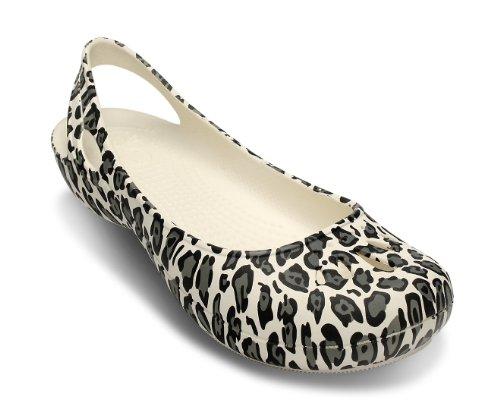 Echte Crocs Thea Slingback Flats Ivoor / Zwarte Luipaardprint Dames