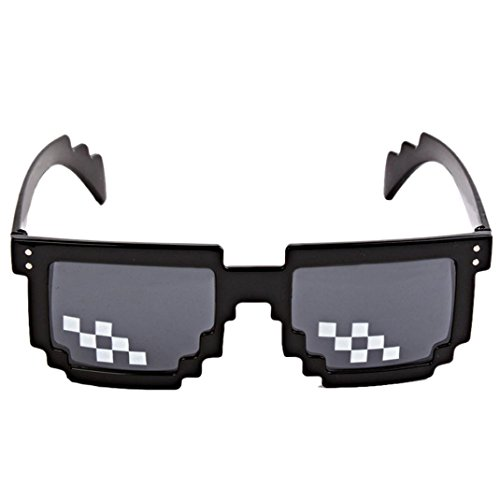 SANNYSIS Thug Life Glasses 8 Bit Pixel Deal With IT Sunglasses Unisex Sunglasses Toy - Eclipse With Sunglasses Viewing