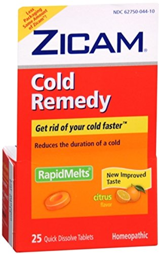 Zicam Cold Remedy RapidMelts with Vitamin C Citrus 25 Each (Pack of 10)