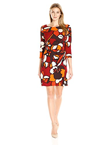 MSK Women's Abstract Shift, Scarlet/Orange, Small - Abstract Shift Dress