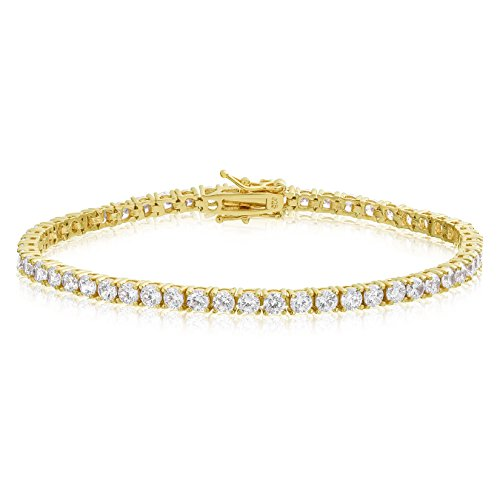 KEZEF Creations Yellow Gold Plated Sterling Silver Round Cut 3mm Cubic Zirconia Tennis Bracelet 8 inch