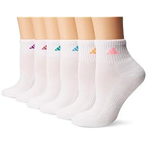 adidas Women's Athletic Quarter Socks (6 Pack), Shock Purple/Bright Cyan/Shock Mint/Pink Glow, Medium