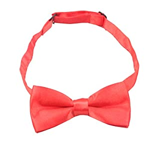 GUCHOL Kids Suspenders Bowtie Set Strengthen Clip Adjustable Length for Boys and Girls (Red)