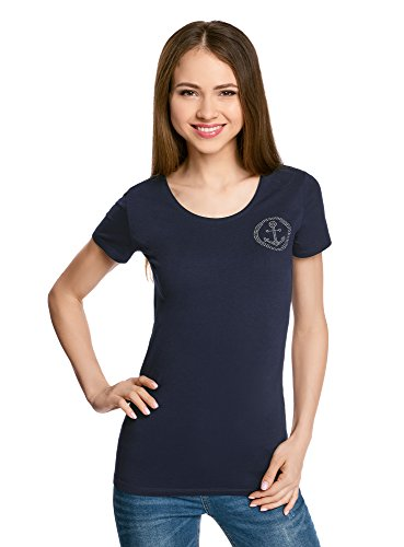 oodji Collection Mujer Camiseta con Decoración de Pedrería Azul (7900N)