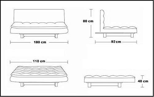 Sofá cama Bagno Italia de 3 puestos de microfibra negro, estilo moderno, sofá reclinable para sala de estar: Amazon.es: Hogar