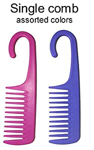 1 Comb Exfoliage Hair Detangling/Conditioning Shower Wide Tooth with Hook for Hanging - COLORS MAY VARY
