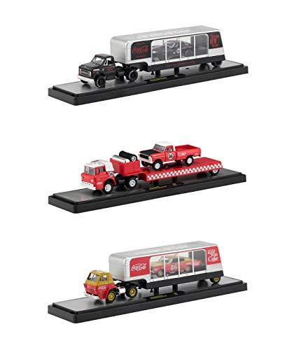 (Auto Haulers Race Version Coca-Cola Release Set of 3 Trucks 1/64 Diecast Models by M2 Machines 56000-RC01)