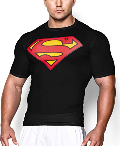 GYMGALA Superman t Shirt Short Sleeve Casual and Sports Compression Shirt (Large, Black)]()