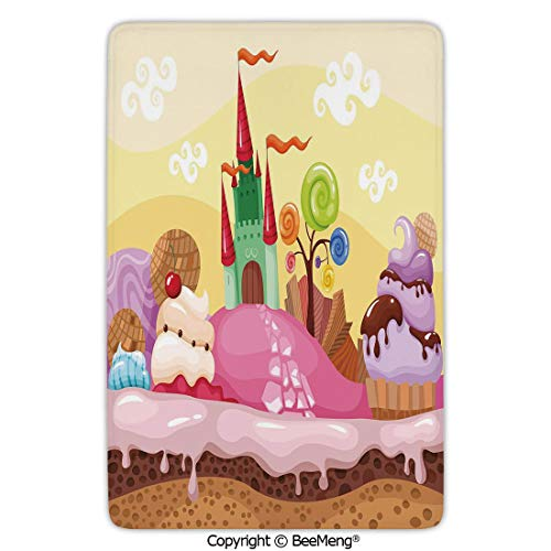 Area Rug for Chair Living Room Mat Non-Slip Soft Entrance Mat Door Floor Rug,Cartoon Decor,Kids Sweet Castle Landscape with Donuts Muffins Ice Cream Nursery Image,Sand Brown Pink,24 x 35 in
