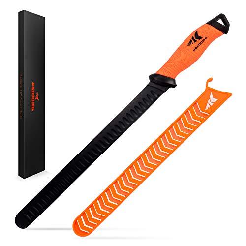 Edge Granton Slicing Knife (KastKing 12inch Slicing Knife,RoundTipGrantonEdge, Razor Sharp G4116 German Stainless-Steel Blade, Professional Level Knives for Slicing, Non-Slip Handles, Includes Protective Sheath.)