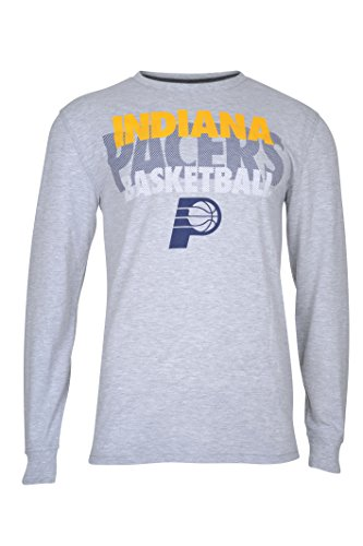 fan products of NBA Men's Indiana Pacers T-Shirt Supreme Long Sleeve Pullover Tee Shirt, Small, Gray